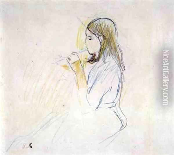 Manet's Daughter Playing the Recorder Oil Painting - Berthe Morisot
