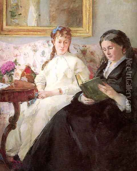 The Mother and Sister of the Artist (or The Lecture) Oil Painting - Berthe Morisot
