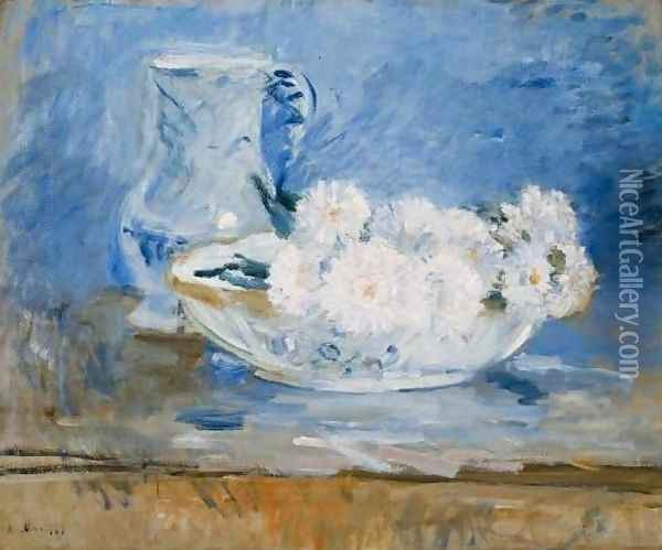 White Flowers in a Bowl Oil Painting - Berthe Morisot