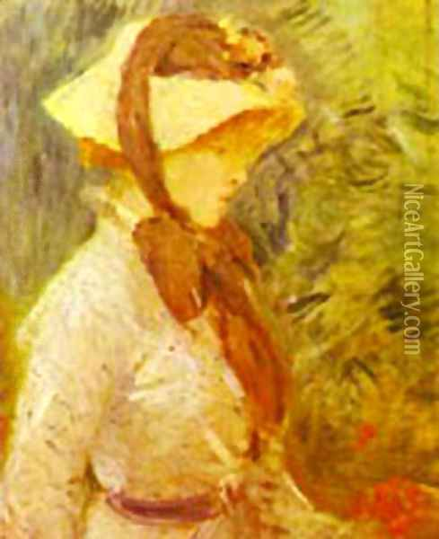 Young Woman With A Straw Hat 1884 Oil Painting - Berthe Morisot