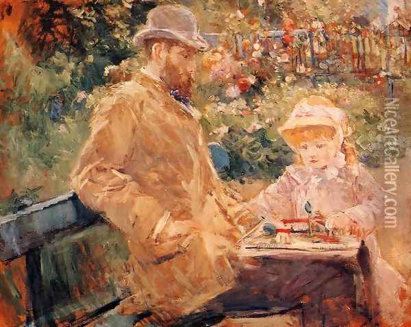 Eugene Manet and His Daughter at Bougival Oil Painting - Berthe Morisot