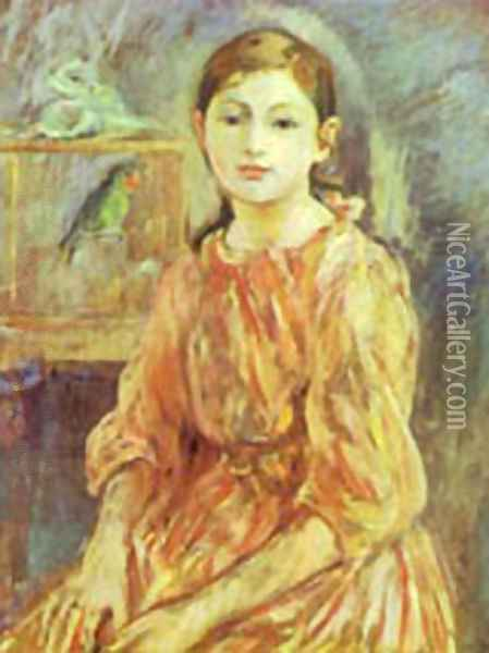 The Artists Daughter With A Parakeet 1890 Oil Painting - Berthe Morisot