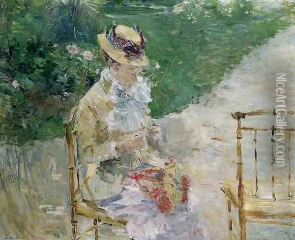 Young Woman Sewing in the Garden 1883 Oil Painting - Berthe Morisot