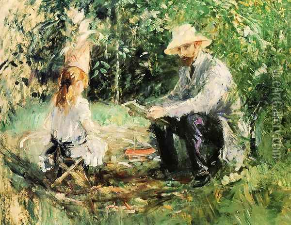 Eugene Manet and His Daughter in the Garden 1883 Oil Painting - Berthe Morisot