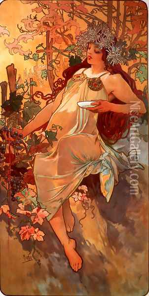 Autumn Oil Painting - Alphonse Maria Mucha