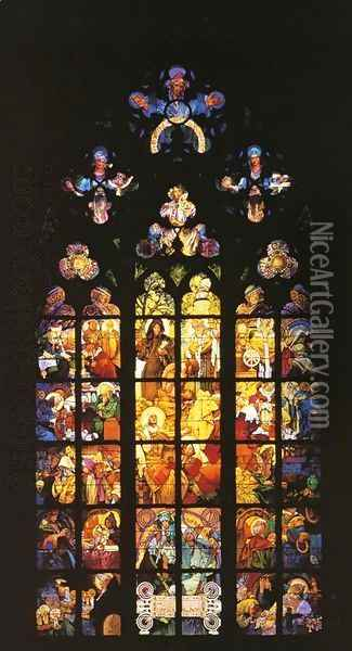Stained-Glass Window in St. Vitus Cathedral Oil Painting - Alphonse Maria Mucha