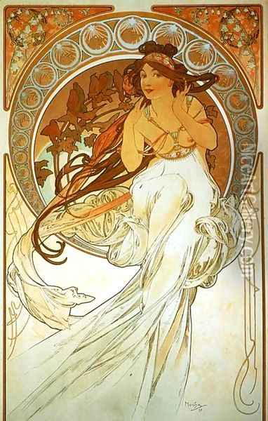 Music. From The Arts Series. 1898 Oil Painting - Alphonse Maria Mucha