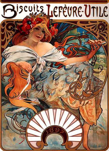 Biscuits Lefevre Utile Oil Painting - Alphonse Maria Mucha
