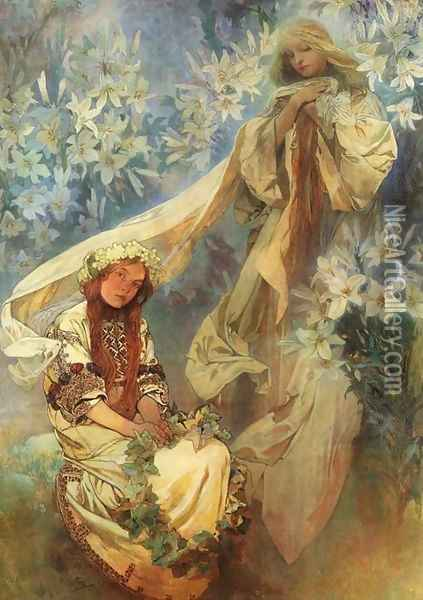Madonna of the Lilies, 1905 Oil Painting - Alphonse Maria Mucha