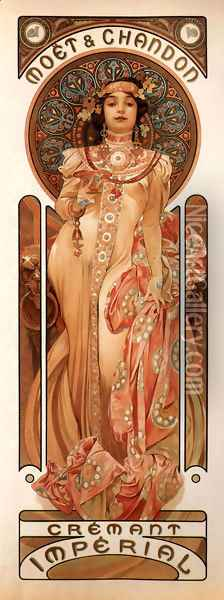 Moet And Chandon Cremant Imperial Oil Painting - Alphonse Maria Mucha