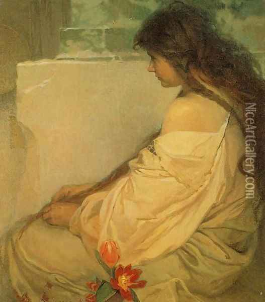 Girl with Loose Hair and Tulips. 1920 Oil Painting - Alphonse Maria Mucha