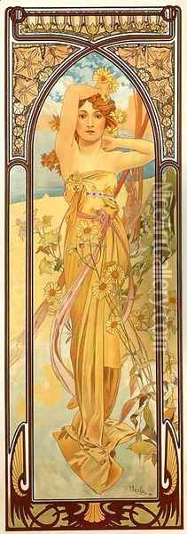 Brightness of Day. From The Times of the Day Series. 1899 Oil Painting - Alphonse Maria Mucha