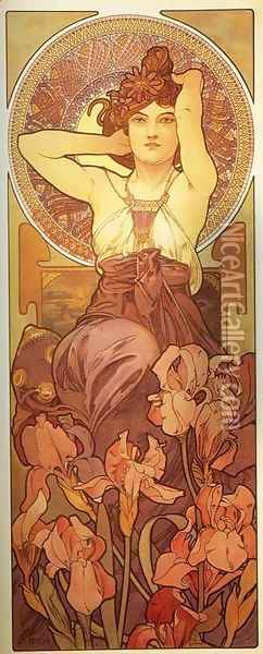 Amethyst. From The Precious Stones Series. 1900 Oil Painting - Alphonse Maria Mucha