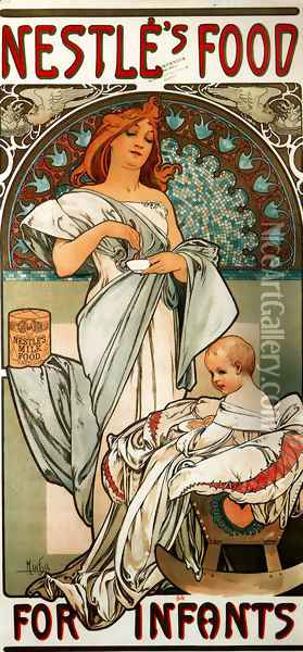 Nestlé's Food for Infants Oil Painting - Alphonse Maria Mucha