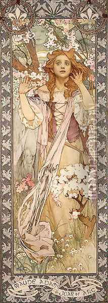 Maud Adams As Joan Of Arc Oil Painting - Alphonse Maria Mucha