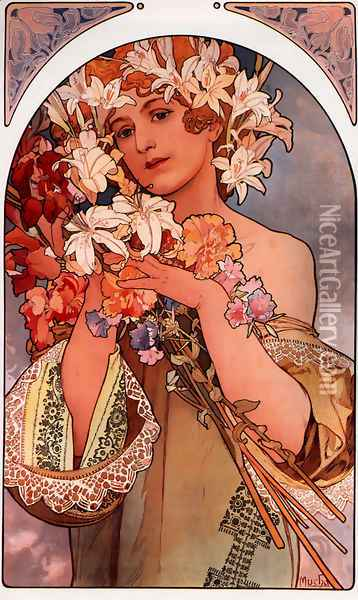 Flower Oil Painting - Alphonse Maria Mucha