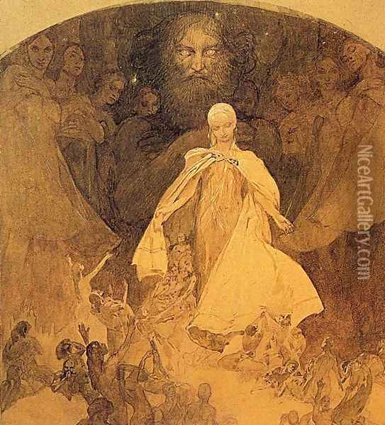 Age of Wisdom. 1936-1938 Oil Painting - Alphonse Maria Mucha