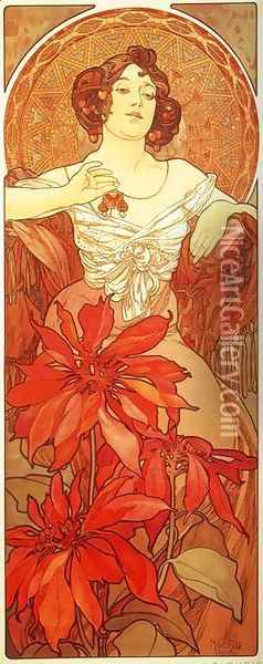 Ruby. From The Precious Stones Series. 1900 Oil Painting - Alphonse Maria Mucha