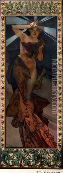 The Moon And The Stars, Morning Star Oil Painting - Alphonse Maria Mucha