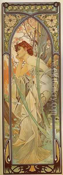 Evening Contemplation. From The Times of the Day Series. 1899 Oil Painting - Alphonse Maria Mucha
