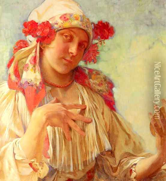 Young Girl In A Moravian Costume Oil Painting - Alphonse Maria Mucha