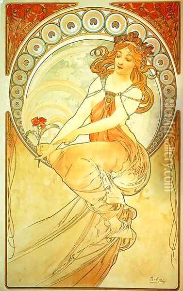 Painting. From The Arts Series. 1898 Oil Painting - Alphonse Maria Mucha
