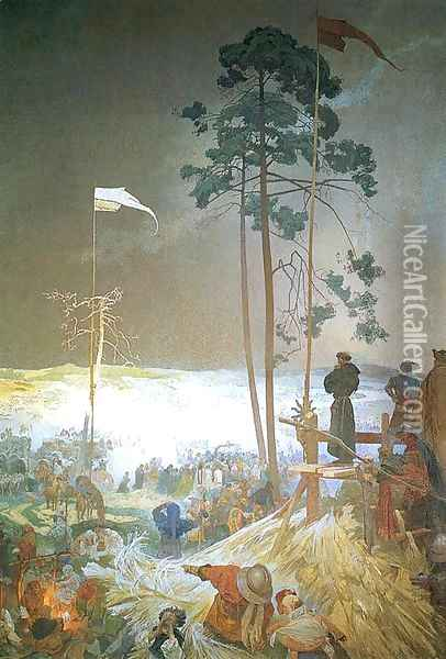 The Meeting of Krizky, 1916 Oil Painting - Alphonse Maria Mucha
