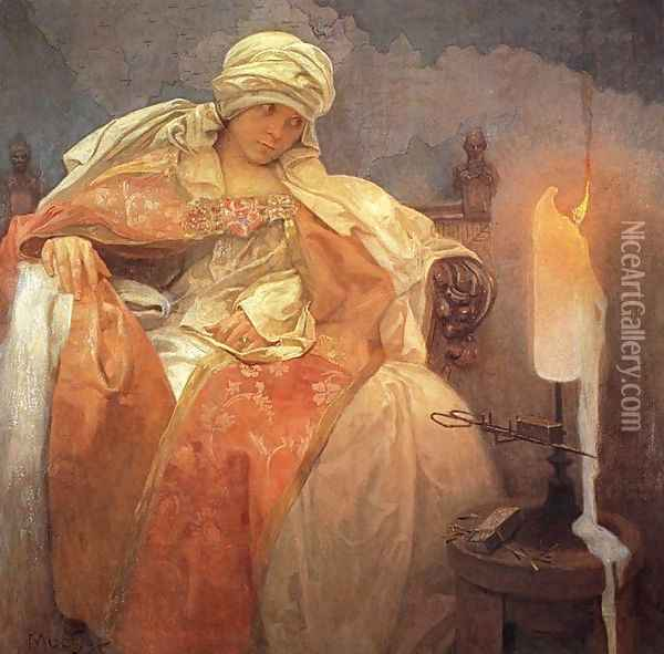 Woman with a Burning Candle, 1933 Oil Painting - Alphonse Maria Mucha