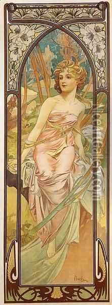 Morning Awakening. From The Times of the Day Series. 1899 Oil Painting - Alphonse Maria Mucha