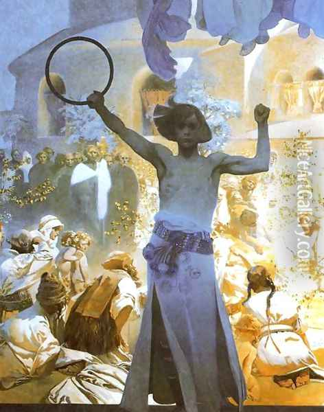 The Introduction of the Slavonic Liturgy (detail) 1912 Oil Painting - Alphonse Maria Mucha