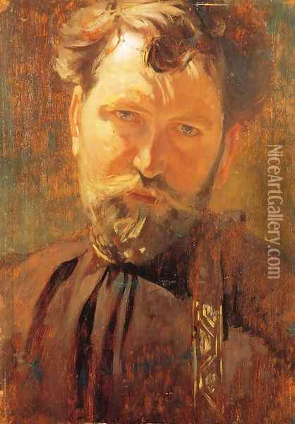 Self-Portrait Oil Painting - Alphonse Maria Mucha