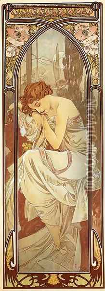 Night's Rest. From The Times of the Day Series. 1899 Oil Painting - Alphonse Maria Mucha