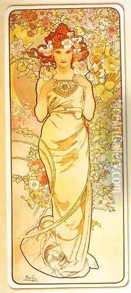 Rose. From The Flowers Series. 1898 Oil Painting - Alphonse Maria Mucha