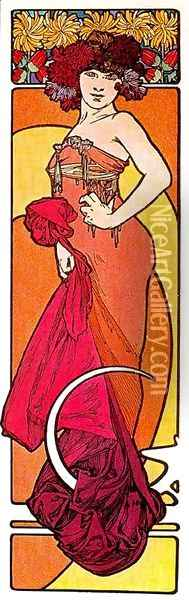 The Brunette, from Decorative Documents Oil Painting - Alphonse Maria Mucha