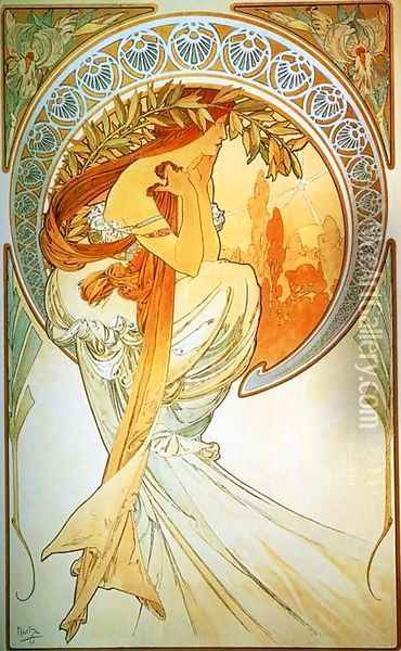The Arts, Poetry Oil Painting - Alphonse Maria Mucha