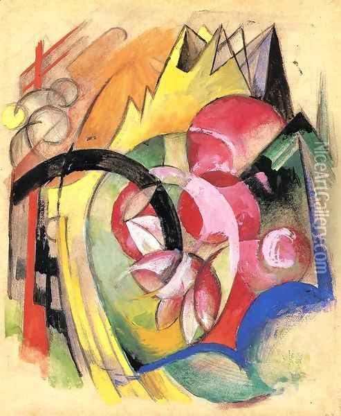 Coloful Flowers Aka Abstract Forms Oil Painting - Franz Marc