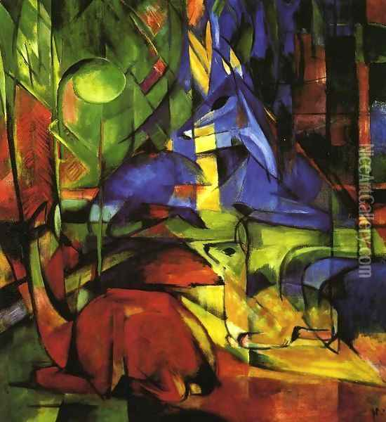 Deer In The Forest II2 Oil Painting - Franz Marc
