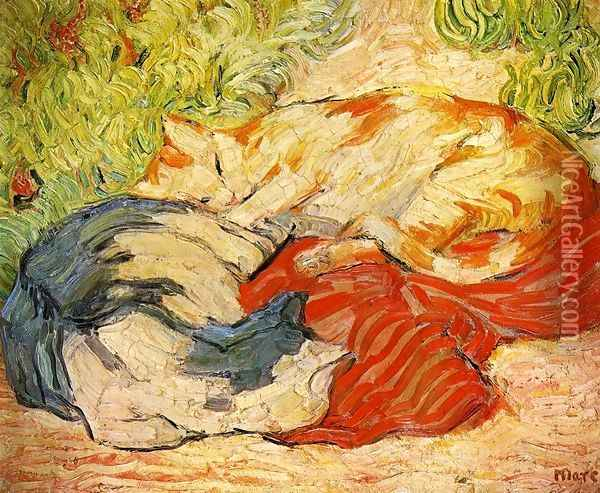 Cats Oil Painting - Franz Marc