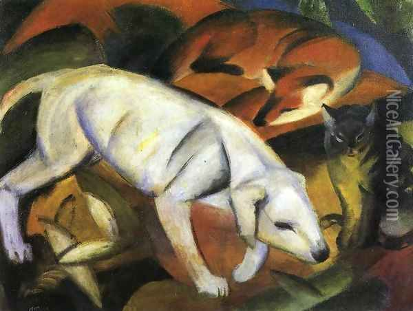 Three Animals (Dog Fox And Cat) Oil Painting - Franz Marc