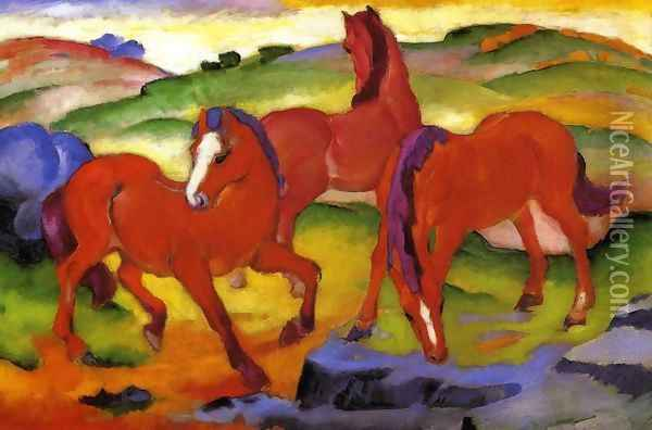 Grazing Horses IV Aka The Red Horses Oil Painting - Franz Marc