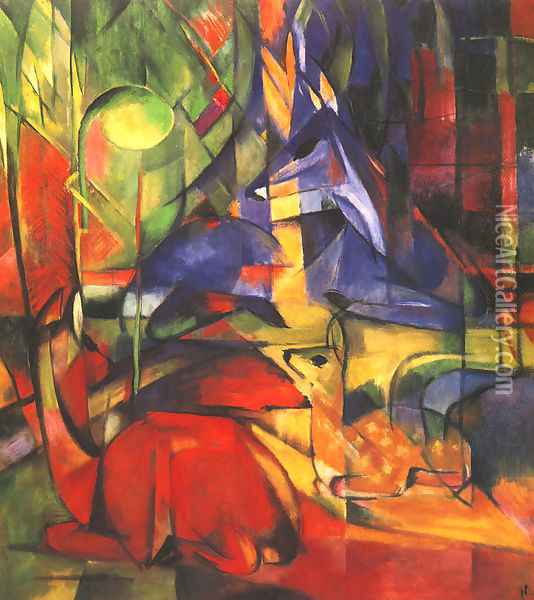 Deer in a Forest II Oil Painting - Franz Marc