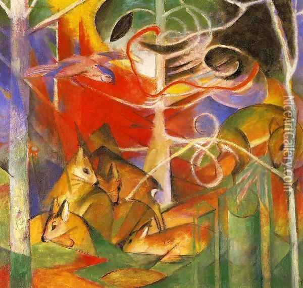 Deer In The Forest Oil Painting - Franz Marc