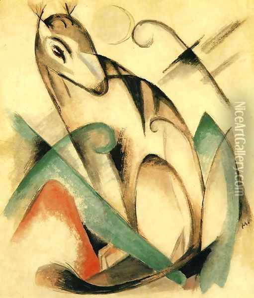 Seated Mythical Animal Oil Painting - Franz Marc