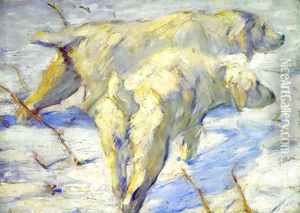 Siberian Sheepdogs Aka Siberian Dogs In The Snow Oil Painting - Franz Marc