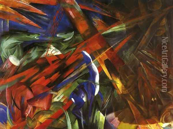 Animal Destinies Aka The Trees Show Their Rings The Animals Their Veins Oil Painting - Franz Marc