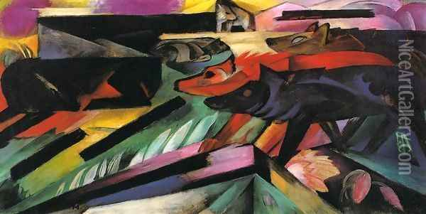 The Wolves Aka Balkan War Oil Painting - Franz Marc