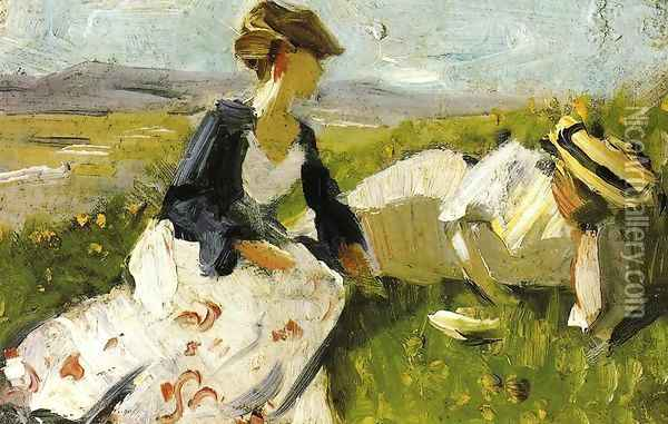Two Women On The Hillside Sketch Oil Painting - Franz Marc