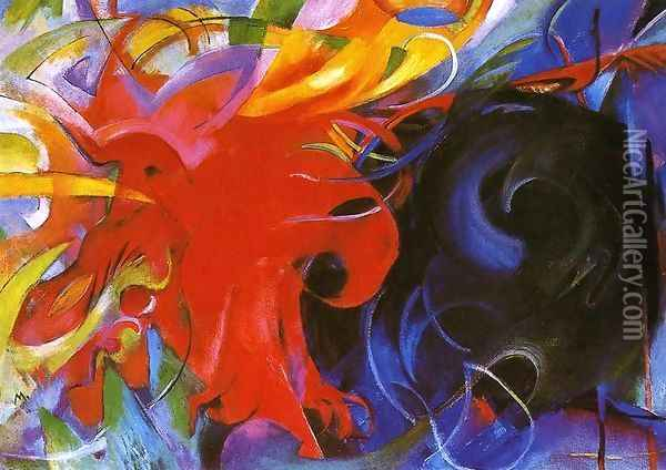 Fighting Forms Oil Painting - Franz Marc