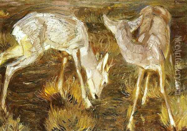 Deer At Dusk Oil Painting - Franz Marc