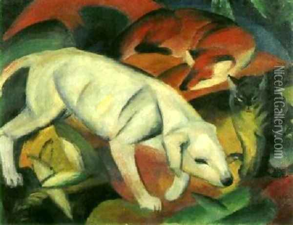 A Dog, a Fox and a Cat Oil Painting - Franz Marc